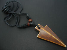 A MENS/BOYS  BLACK CORD SURFER TRIBAL ARROWHEAD ADJUSTABLE NECKLACE. NEW.