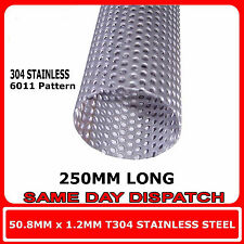 """EXHAUST REPAIR TUBE STAINLESS STEEL PERFORATED PIPE 51MM 2"""" X 500MM HEAVY DUTY"""
