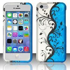 For Apple iPhone 5C - Rubberized Matte Hard Design Cover Case - Blue Vine Design