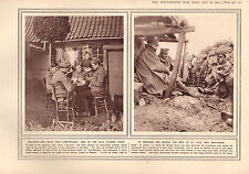 1915 WWI PRINT ~ BILLETED H.A.C PLAYING CARDS ~ IN TRENCHES SHELTERING