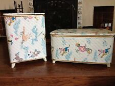 Vintage Quilted Vinyl Child's Clothes Hamper & Toy Box. Excellent Condition
