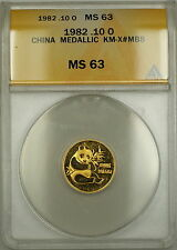 1982 China (10 Yuan) Gold Panda Medal 1/10 oz KM-X#MB8 ANACS MS-63 *Scarce*