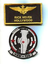 RICK HOLLYWOOD NEVEN NAME TAG TOP GUN MOVIE COSTUME US Navy Patch Squadron Set
