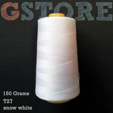 1 white 150g cone 100% spun polyester sewing machine thread (serger spool)