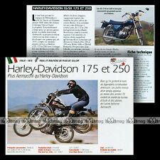 HARLEY-DAVIDSON 175 250 SS / SX (AERMACCHI) 1975 Fiche Moto Motorcycle Card MRC