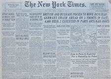 8-1941 WWII August 22 BRITISH AND RUSSIANS POISED TO MOVE INTO IRAN; GERMANS