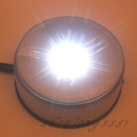 """4"""" NEW 7 LED White Light Unique Rotating Crystal Display Base Stand DC Adapter"""