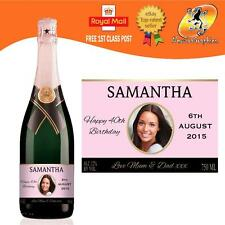 PERSONALISED PINK CHAMPAGNE PHOTO BOTTLE LABEL BIRTHDAY WEDDING ANY OCCASION