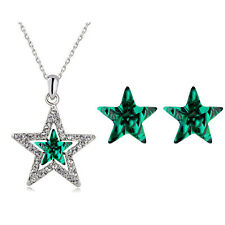 Emerald Crystal Green Star Shaped Stud Earrings Christmas Pendant Necklace S901