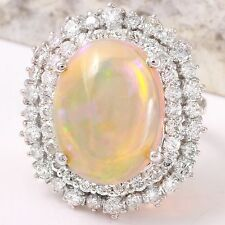 8.31Ct Natural Ethiopian Opal and Diamond 14K Solid White Gold Ring