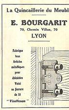 LYON PUBLICITE ETS BOURGARIT QUINCAILLERIE DU MEUBLE 1930
