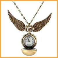Harry Potter Snitch Watch Necklace Steampunk Quidditch Pocket Clock Pendant GG