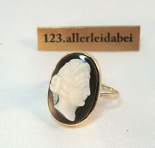 Traumhafter Gemme Ring 585 er Gold Lagenstein Onyx Achat Kamee Cameo / AO 1101