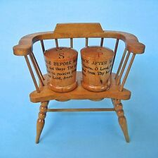 SALT PEPPER SHAKERS VINTAGE WOOD CHAIR Before & After Meal Prayers Handcrafted