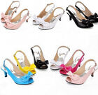 New Ladies Peep Toe Kitten Heels Patent BowKnot Slingback Shoes Sandals UK3.5-8