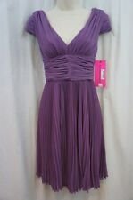 Betsey Johnson Dress Sz 8 Lavender Purple PLeated Crepe Empire Cocktail Dress