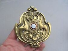 "Art Nouveau Brass Door Bell porcelain ""PRESS"" Button Architectural Antique Old"
