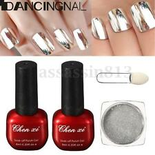 Silver Mirror Chrome Nail Art Pigment Powder + Base Gel + Topcoat + Brush Set