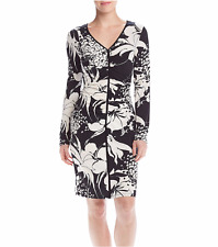 NWT ADRIANNA PAPELL WHITE BLACK FLORAL CAREER SHEATH DRESS SIZE L $98