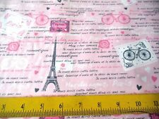 Timeless Treasures Fabric Eiffel Towers French Script on Pink