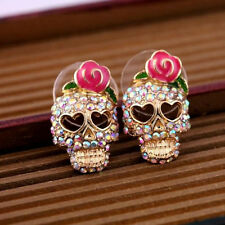 New Cool betsey johnson Pink Rose Skeleton Skull Stud Earrings Gift Fashion