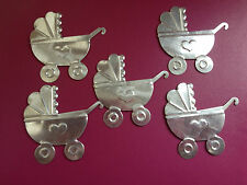 5 SILVER METAL PRAM STROLLER BABY CARD MAKING SCRAPBOOKING CRAFT EMBELLISHMENTS