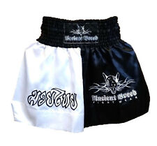 "New Muay Thai Shorts with Dog Motif Black/White Small (27"" - 28"" Waist)"