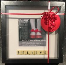 "BLACK FRAME WIZARD OF OZ ""BELIEVE"" PHOTO SCRABBLE TILE PICTURE SIMPLY STUNNING"