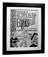 ELVIS COSTELLO+Let Them Talk+POSTER+AD+RARE+ORIG 1983+FRAMED+EXPRESS GLOBAL SHIP