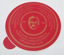 Aufkleber 100 Jahre OSKAR BARNACK Erfinder der LEICA 1879-1979 Sticker