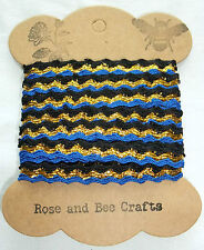 3 Metres 9 mm-Wide Blue, Black and Gold Ric Rac Braid Trimming on Card Spool