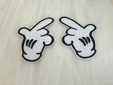 MICKEY FINGERS 2)  Sew Embroidery Iron Patch FAST Uk. SO TRENDY .