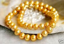Natural 8-9MM Natural Gold Akoya Cultured Pearl Necklace 18''