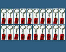 20 Lot Key Chain w/ Lego 3020 2x4 Red brick Plate Gift, Party Favor, Game Prize