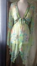 "Pure Silk Chiffon Jacket Beach Cover Up BNWT ""With Love"" Green Coral Sz XL16-18"