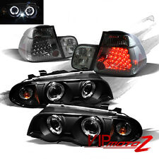 BMW E46 99-01 4DR Black Halo Projector Headlight+Smoke LED Tail Light Trunk Lamp