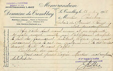 27 LE TREMBLAY DOMAINE DU TREMBLAY COURRIER MEMORANDUM 1925