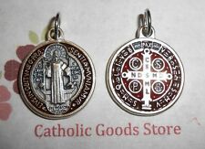 SAN BENITO Medalla / SAINT Benedict Cross-Med- Silver Tone/Red & Brown Enamel