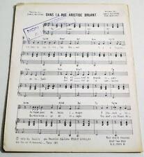 Partition vintage sheet music DANIEL GUICHARD Dans la Rue Aristide Bruant * 70's