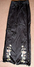 New 8-10 Tara Jarmon Drawstring Wide Floral Embroidered Leg Cargo Jean Trousers