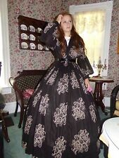 "Victorian Attire Civil War Costume 1pc Day Dress 24""W Shear Paisley Attire New"