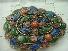 VINTAGE CHINESE SILVER CORAL TURQUOISE ENAMEL FILIGREE FUR CLIP PIN BROOCH