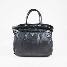 "Prada $1695 Black Leather Pleated ""Nappa Frills Shopping Tote"" Bag"