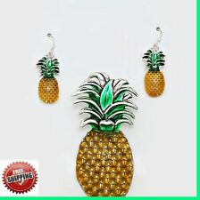 "Pineapple Fruit Africa Palm Sun Silver Pendant Necklace Earrings + 23"" Chain SET"