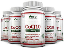 CoQ10 100mg, 5 x 120 Coenzyme Capsules UK Made 100% Guarantee Nu U Nutrition