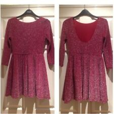 Topshop Cherry Red Silver  Lurex Flippy Skater Christmas Party Dress - Size 6