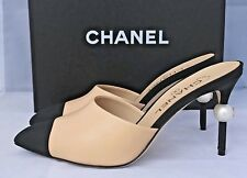 $1.1K 2016 CHANEL RUNWAY BEIGE BLACK LEATHER SLIDES MULES HEELS SHOES PEARL 37