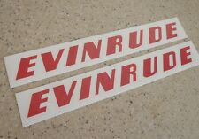 "Evinrude Vintage Motor Decals RED Decals 10"" 2-PAK FREE SHIP + FREE Fish Decal!"