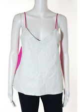 NWT BY CHANCE Gray Bright Pink Leather Front Spaghetti Strap Top Sz M $250