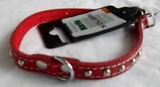 Hunde Halsband Kolibri rot mit Filz u. Nieten Gr. Small 10 mm x 32 cm NEU !